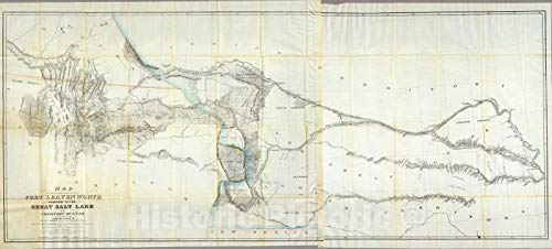 Historic Map : Map of a Reconnoissance Between Fort Leavenworth and The Great Salt Lake, 1852 - Vintage Wall Art - 80in x 36in