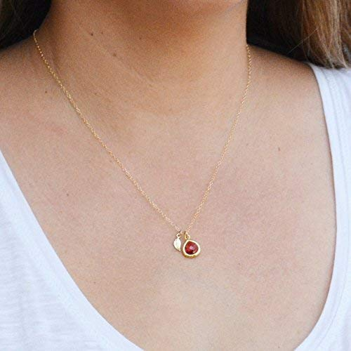 Ruby Necklace Ruby Glass July Birthstone Gold Leaf Pendants Gold Filled Chain