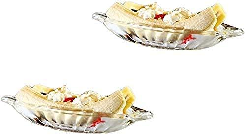 Juego de 2 platos de banana split, cuencos de cristal para servir, bandeja para aperitivos, vajilla