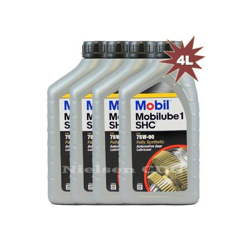 Mobilube 1 SHC 75W90, Olio completamente sintetico per ingranaggi 142382, 4 x 1 l = 4