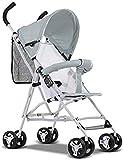 Sillas de paseo Carry Cochecito de bebé Ligero de bebé Plegable de Cuatro Ruedas de la Compra Sit reclinado Choque Plano Carritos (Color : C)