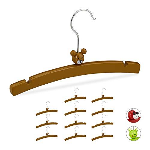 Relaxdays Kleerhangers voor kinderen, set van 12 stuks, diermotief-beer, houten kleerhangers voor meisjes en jongens, babykleding, bruin, 12 stuks