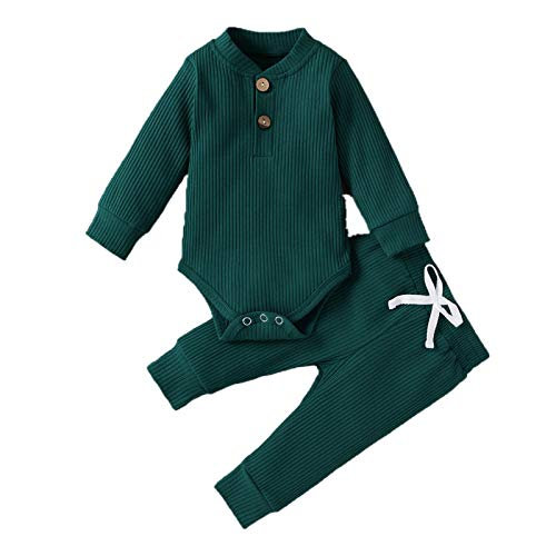 Geagodelia Conjunto de ropa para bebé, niño, niña, body de manga larga, pantalones, recién nacido, 0 – 6 meses para niñas, ropa de verano para bebé. verde 18-24 Meses