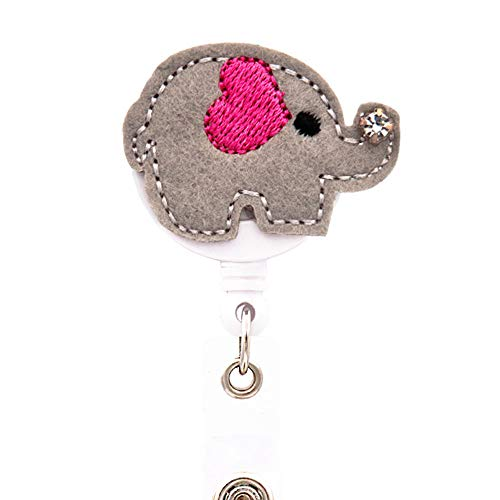 Ascrafter Cute Elephant Retractable Id Name Card Badge Reel(Grey)