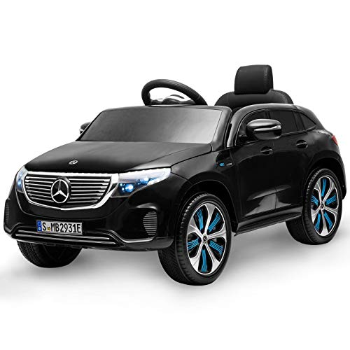 Aneken Kids Ride on Car with Remote Control, 12V Electric Cars for Kids, Battery Operated Cars for Kids to Ride, Portable Handle, Police Decals, LED Light , Bluetooth, MP3, 3 Speed, Ages:2-6(Black)