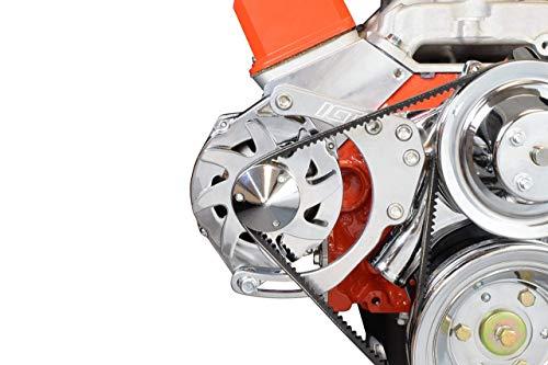 ICT Billet SBC LWP Alternator Bracket Double Hump Heads Adjustable Billet Kit Small Chevy 305 327 350 5.0L 5.7L V8 Eight Cylinder Long Water Pump Carburetor V Belt Compatible With Chevrolet 551672X