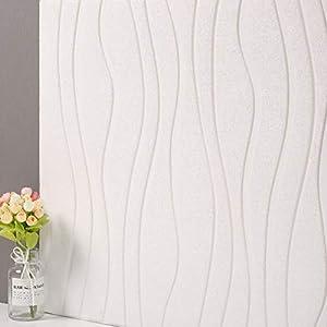 JXBoos 3D Onda Paneles de Pared, Habitación para niños Anti-Collision Pegatinas 3D Dormitorio Sala de Estar Pared del Fondo de Papel Pintado Decorativo-Blanco 60x60cm(24x24inch)