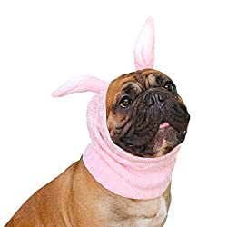 Easter Outfits For Dogs - Boxer dog wearing a pink bunny snood by iChoue.