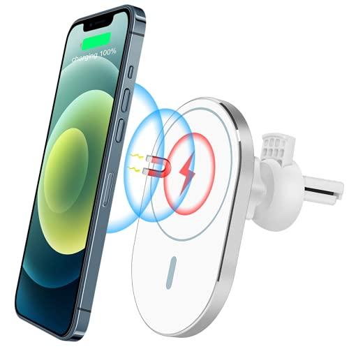 Cekell Cargador de coche inalámbrico magnético, soporte para teléfono de coche de carga rápida Qi de 15 W, [versión de actualización 2021] compatible con iPhone 12 / 12Mini / 12Pro / 12Pro Max