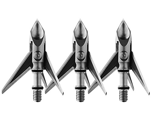 "Ramcat Hydroshock Pivoting Broadheads | 3 Pack | 100 Grain Screw-In Cross Bow Hydroshock-X Pivoting Broadhead, Cross Bow Arrow Heads, Bow Hunting Accessories, 0.032"", Stainless Steel"