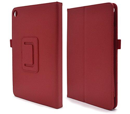 PLATA Kindle Fire HD 8 (2016版 第6世代) ケース レザー スタンド カバー キンドル ファイアー 無地 シンプル 手帳型【 レッド 】