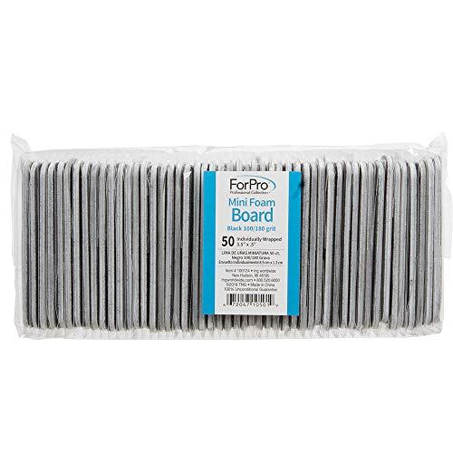 """ForPro Mini Foam Board, 100/180 Grit, Double-Sided Manicure Nail File, 3.5"""" L x .5"""" W, Black, 50-Count"""