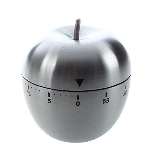 Uniquk Acero Inoxidable Cuenta atras de 60 Minutos Reloj Temporizador Alarma mecanica de Cocina Forma de Manzana