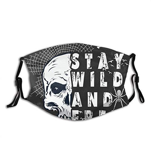 Mundschutz Stay Wild Free Slogan Print Unisex Waschbarer und wiederverwendbarer Mundschutz Gesichtsschutz für den Außenbereich