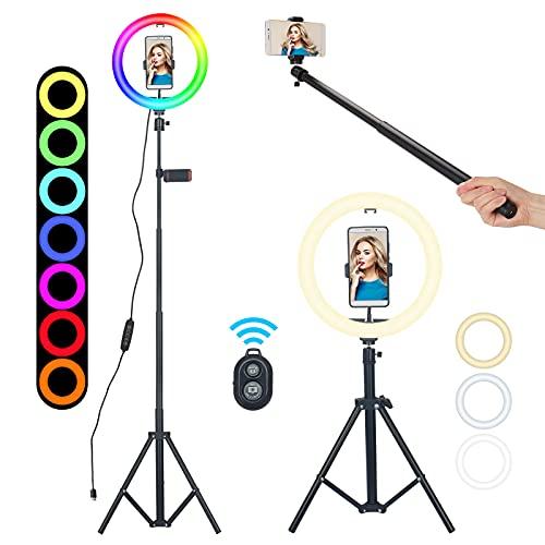 Ringlicht mit Stativ Handy, 10 Zoll LED Ringlicht, RGB Selfie Ring Light Selfie Ringleuchte für Live/YouTube, 15 Farbe +10 Helligkeitsstufen (40-160cm)