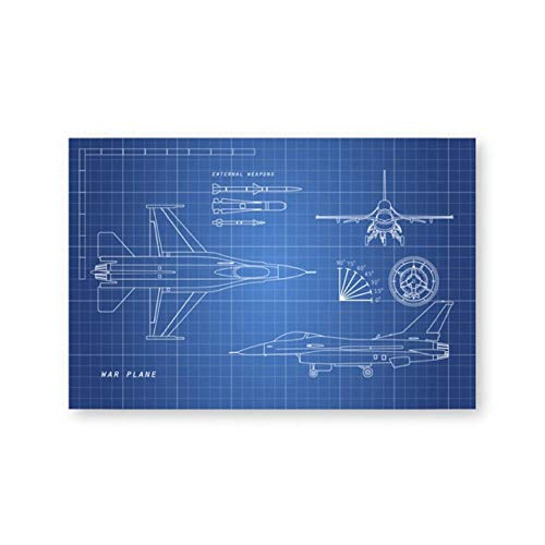 kinderzimmer Deko Junge Aviones Militares Dibujo Blueprint Canvas Art Poster Prints Boy Gift Wall Decor Canvas Painting Picture Decorations 50x70cmx1 sin Marco