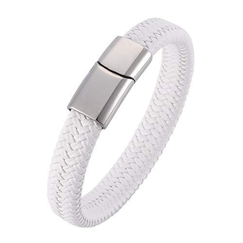 RJGOPL Trendy Heren Armbanden Wit Gevlochten Lederen Touw Armband Sieraden RVS ic Sluiting Mode Mannelijke Polsband Binnen Perimeter195mm Staal Kleur Sluiting
