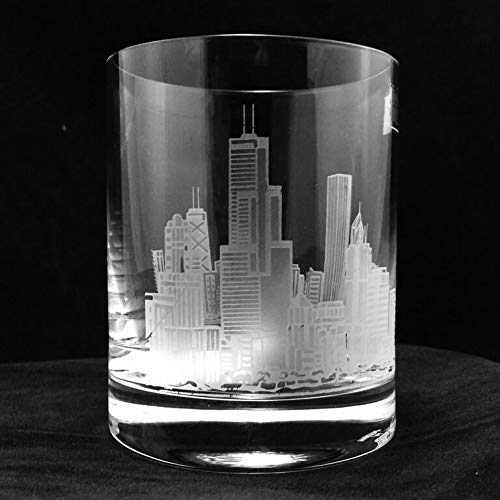 NEW Chicago City Skyline Engraved Same day shipping on Glass DOF Whiskey Pair