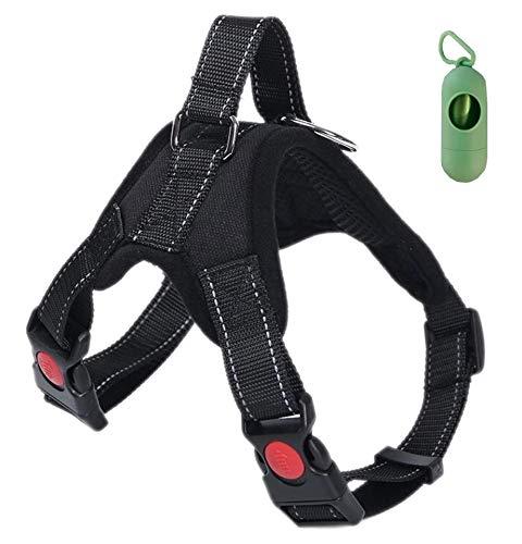 VF Arnés de perro Lex ajustable con asa superior apta para cualquier perro, ideal para caminar, correr y adiestramiento. Dispensador de bolsas higiénicas (M, negro) ✅