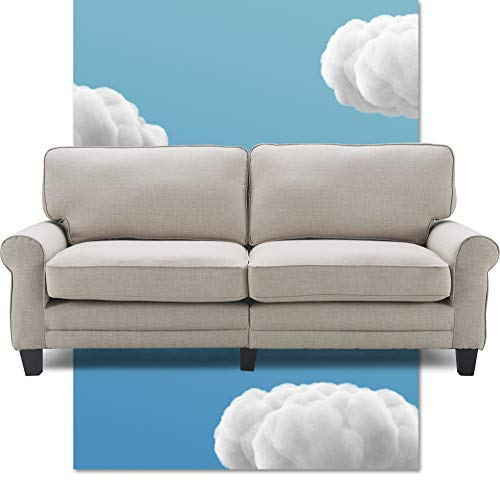 """Serta Copenhagen Sofa Couch for Two People, Pillowed Back Cushions and Rounded Arms, Durable Modern Upholstered Fabric, 78"""", Light Gray"""