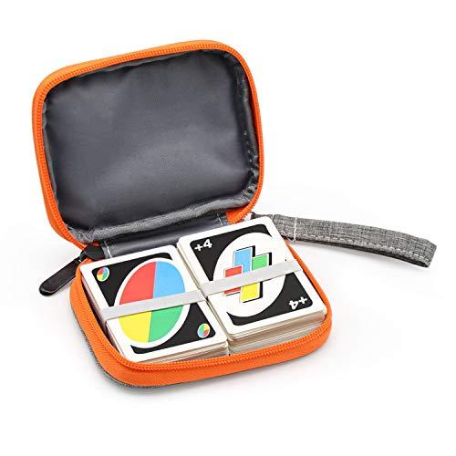 YSAGi Travel mit UNO-Tasche Kompatibles Kartenspiel, Platz für bis zu 150 Karten, weiches Tuch Wasserdichter Rundumschutz Kompatible UNO-Karte für Spiele im Freien oder Camping (Grau, Tasche Hülle)