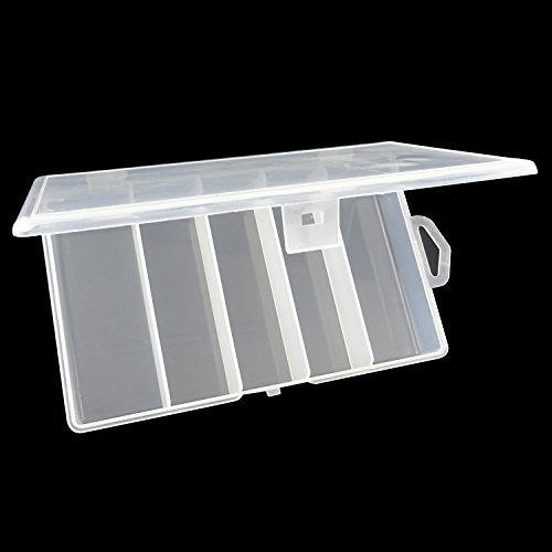 Honbay Clear Visible Plastic Fishing Tackle Accessory Box Fishing Lure Bait Hooks Storage Box Case Container Jewelry Making Findings Organizer Box Storage Container Case (M:6.9x4.3x1.2inch)