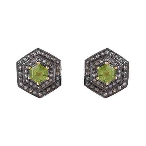 Pendientes de tuerca con forma de hexágono y diamantes naturales de 0,66 quilates de peridoto de 1,30 quilates, diamantes naturales de color marrón natural (I2-I3 claridad) para mujer