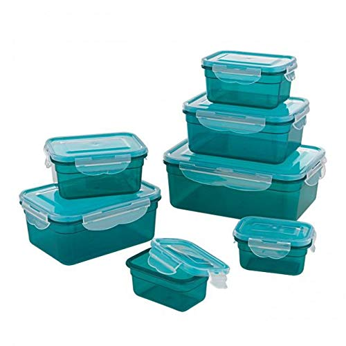 GOURMETmaxx 02914 Plastic Food Storage Container-Set, 14 Pieces | Dishwasher Safe | Clip Lid Food Container by GOURMETmaxx
