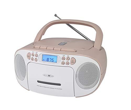 Reflexion CD-Player mit Kassette - & Batteriebetrieb (PLL UKW-Radio, LCD-Bildschirm, AUX-Eingang, Kopfhörer-Anschluss), weiß/rosa