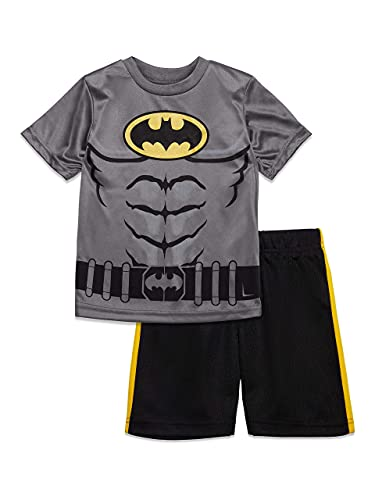 Warner Bros. Ensemble Sport Batman Garçon Enfant avec Tshirt et Bermuda,US 12 (EU 10-11 ans),Batman Gris Foncé,XX-Large