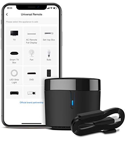 BroadLink Smart IR Remote Control Hub with Temperature Humidity Sensor Cable -WiFi IR Blaster for Smart Home Automation, TV Remote, Smart AC Controller, Works with Alexa/Google Home/IFTTT (RM4 Mini S)