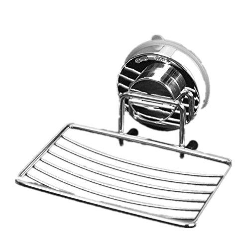 LEORX Jabonera, de acero inoxidable ducha Estantería succión Jabón caso para baño cocina