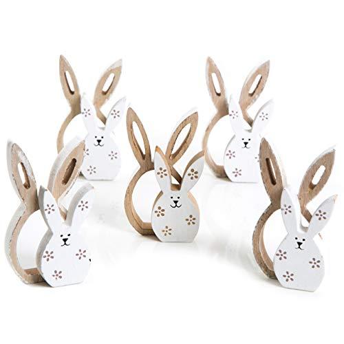 Logbuch-Verlag - 5 paia di coniglietti in legno, legno naturale e bianco, con fiorellini, 10 cm; decorazione pasquale/primaverile, soprammobile
