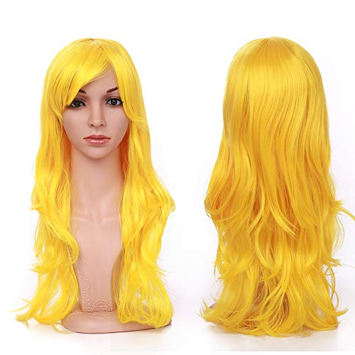 23 Inch Long Yellow Anime Cosplay Wig Synthetic Hair Curly Wavy Full Wigs with Bangs for Women Girls Lady Fashion and Beauty Japanese Heat Resistant Fiber