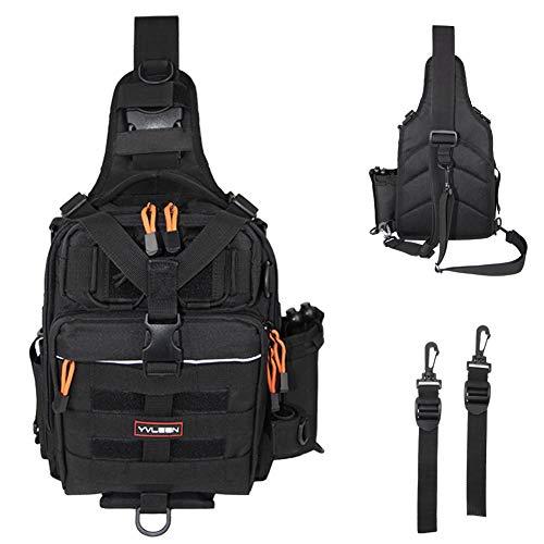 YVLEEN Angelausrüstungs-Rucksack – Outdoor Große Angelausrüstung Box Tasche – Wasserabweisender Angelrucksack mit Rutenhalter Schulterrucksack