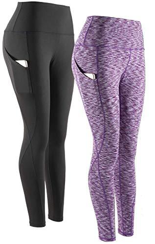 SERHOM Yoga Pants, High Waist Tummy Control Workout Women Yoga Leggings with Pockets L Pack of 2