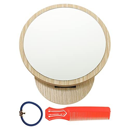 Lurrose Espejo de Maquillaje de Escritorio Espejo de Tocador de Madera Espejo Cosmético Giratorio Tabtop con Peine Y Banda para El...