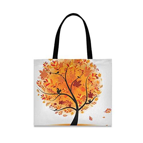Bolsa de lona de otoño para mujer, grande, reutilizable, bolsa de comestibles con bolsillo interior, bolsa de compras para gimnasio, playa, viajes al aire libre