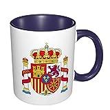 Bandera de España Taza de café de cerámica con patrón impreso en 3D de doble color Tazas de 14.56 oz con asa grande para bebidas frías o calientes como cacao, leche, té, agua, cerámica suave