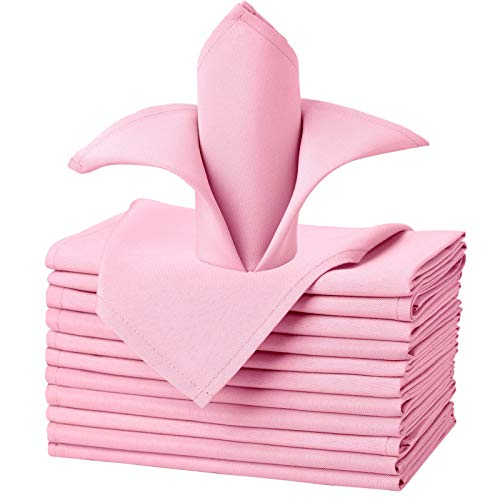 VEEYOO Cloth Napkins - Set of 12 Pieces 17 x 17 Inch Solid Polyester Table Napkins - Soft Washable and Reusable Dinner Napkin for Weddings, Parties, Restaurant (Pink Napkins Cloth)