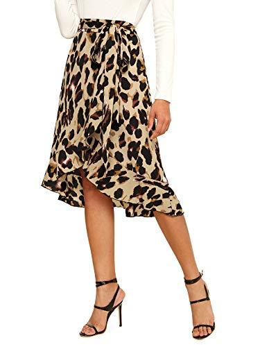 SheIn Women's Leopard Print Ruffle Hem Casual Midi Warp Skirt Brown Medium