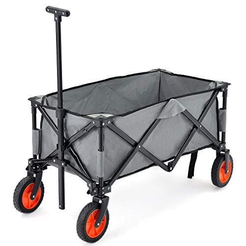Flieks Bollerwagen Faltbar Handwagen, Transportwagen Klappbar Gartenwagen 360 ¡ã drehbar Picknickwagen Strandwagen belastbar bis 150kg (Grau_A)