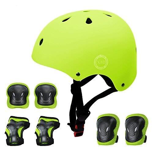 XJD Fahrradhelm Kinder Schoner Set(7er) für Kinder Helm Klassiker 1.0 +Knie-& Ellenbogen- & Handgelenkschützer Schutzausrüstung für Multisport Roller Skateboard Fahren Scooter 3-13 Jahre(Gelb S)