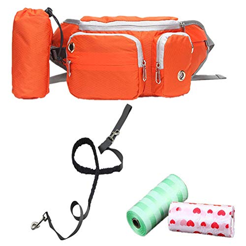 Fully Hunde Laufen Jogging Training Bauchtasche mit D-Ring Leinen Futtertasche Aufbewahrung Hüfttasche Leckerlibeutel (46x14x6cm/18.11x5.51x2.36, Orange)