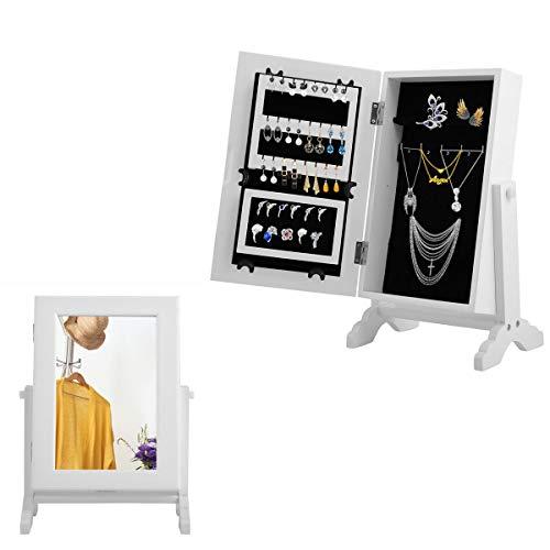 GIANTEX Schmuckschrank mit Spiegel, kleine Schmuckkommode Schmuckkasten mit Spiegel kippbar, Schmuckregal Spiegelschrank für Schmuck Holz, weiß