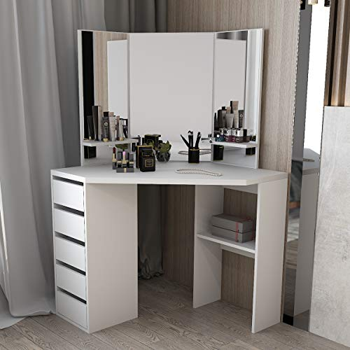 Farelves Corner Dressing Table White with 3 Mirrors and 5 Drawers Vanity Table Makeup Table Bedroom Dressing Table Girls