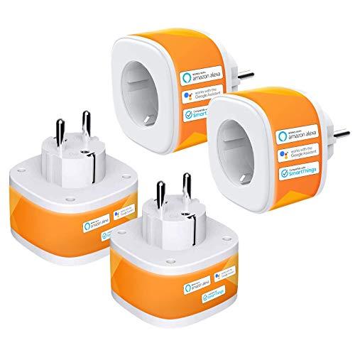 WLAN Steckdose Refoss Smart Plug, Fernbedienbar WiFi Stecker, kompatibel mit Alexa, Google Assistant, Sprachsteuerung und Zeitplan, 2,4GHz, 16A, 4 Pack