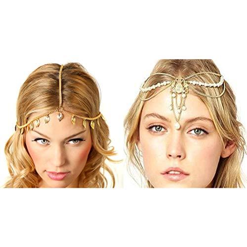 Princesa corona Tiara de la boda 2 Unids Hairband Cadena Bohemia Joyera Tocado de La Cadena de la Hoja Hairband Cadena perla real Corona decoraciones de la cadena del tocado