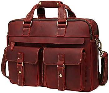 WILD WORLD Leather Briefcase Shoulder Bag for Men