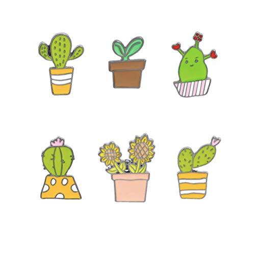 PRETYZOOM Lustige Emaille Brosche Pin 6Pcs Kaktus Cartoon Broschen Anstecknadeln Abzeichen für Jean Tasche Kleidung Hut Mütze Hosen Dekoration (Gemischter Stil)